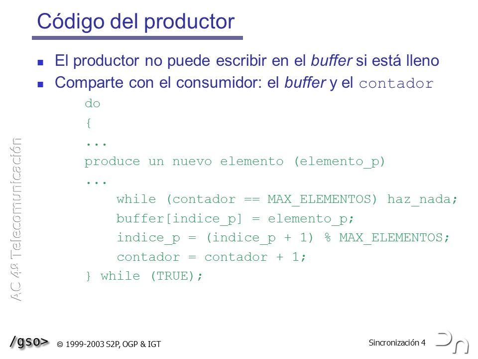 Código del productor El productor no puede escribir en el buffer si está lleno. Comparte con el consumidor: el buffer y el contador.