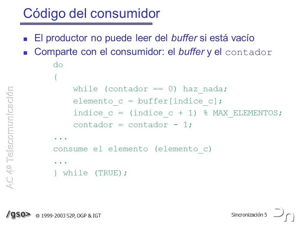 Código del consumidor El productor no puede leer del buffer si está vacío. Comparte con el consumidor: el buffer y el contador.