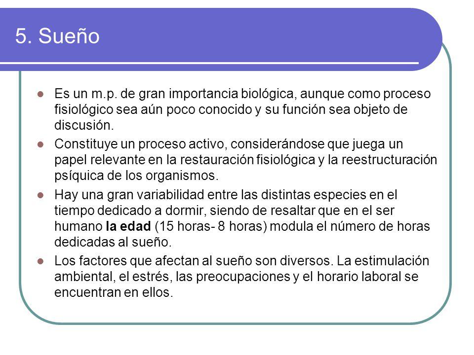 5. Sueño Es un m.p. de gran importancia biológica, aunque como proceso fisiológico sea aún poco conocido y su función sea objeto de discusión.