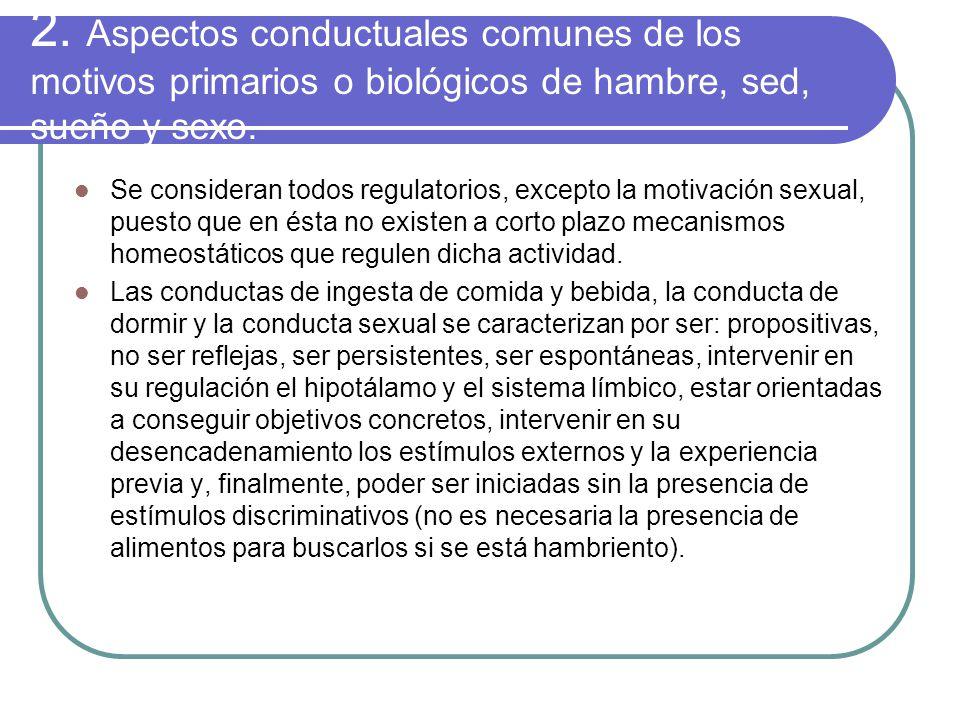 2. Aspectos conductuales comunes de los motivos primarios o biológicos de hambre, sed, sueño y sexo.