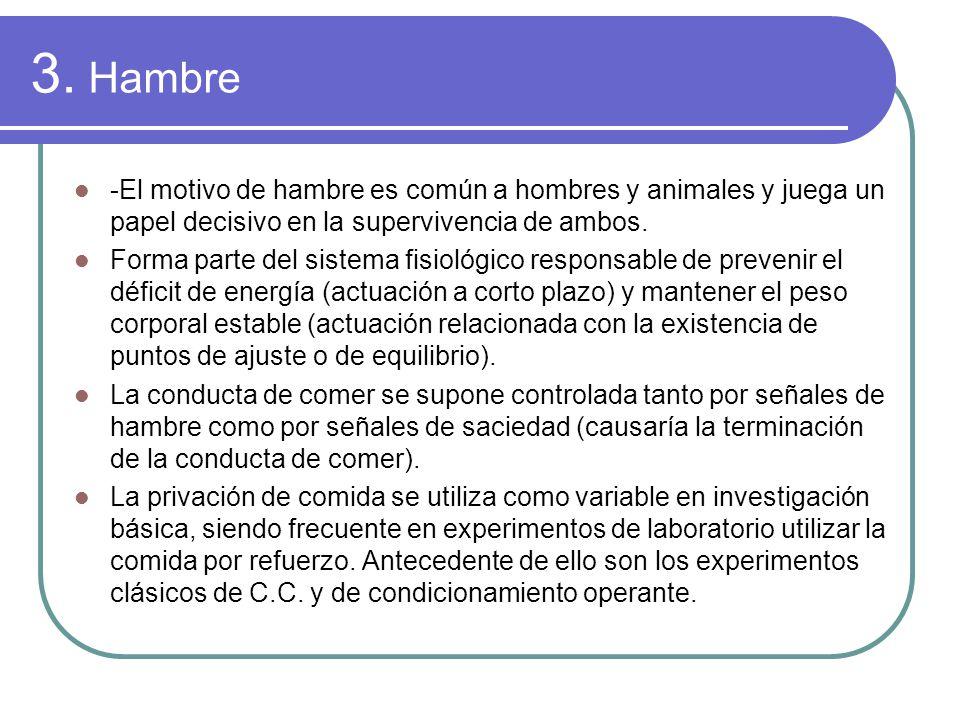 3. Hambre -El motivo de hambre es común a hombres y animales y juega un papel decisivo en la supervivencia de ambos.