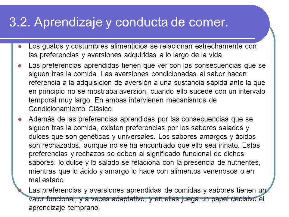 3.2. Aprendizaje y conducta de comer.