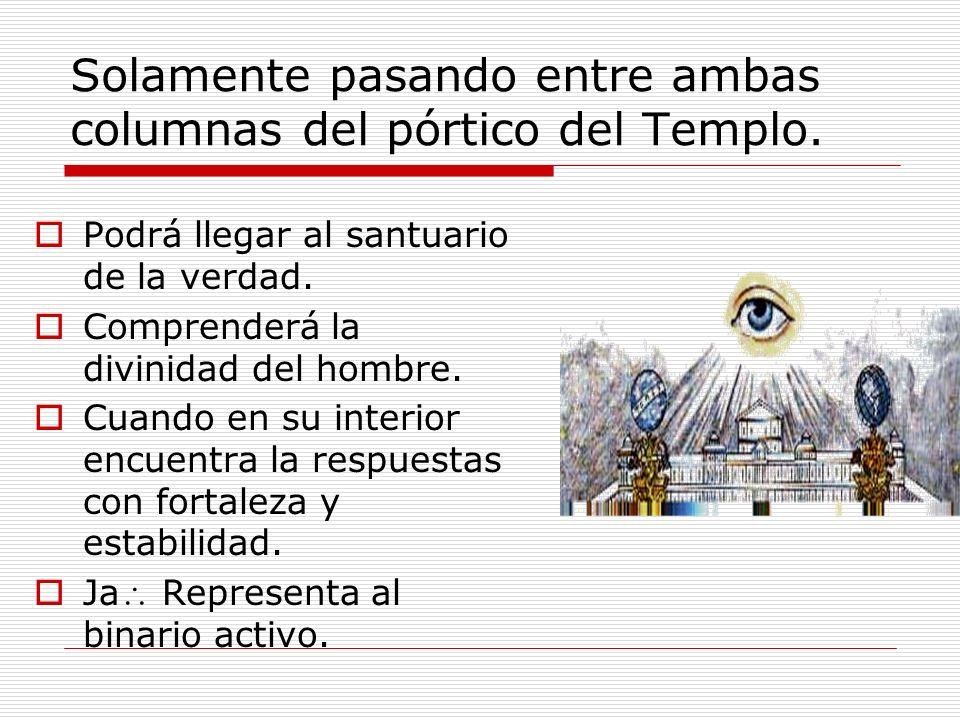 Solamente pasando entre ambas columnas del pórtico del Templo.