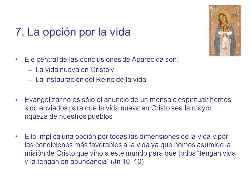 7. La opción por la vida Eje central de las conclusiones de Aparecida son: La vida nueva en Cristo y.