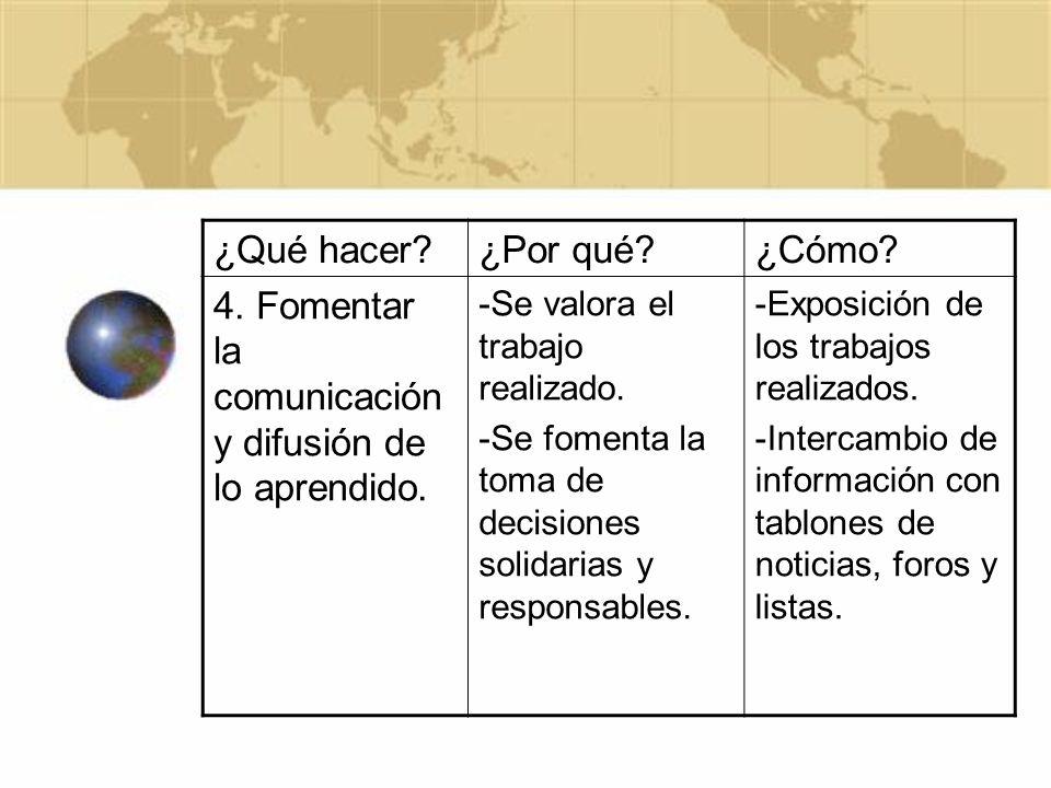 4. Fomentar la comunicación y difusión de lo aprendido.