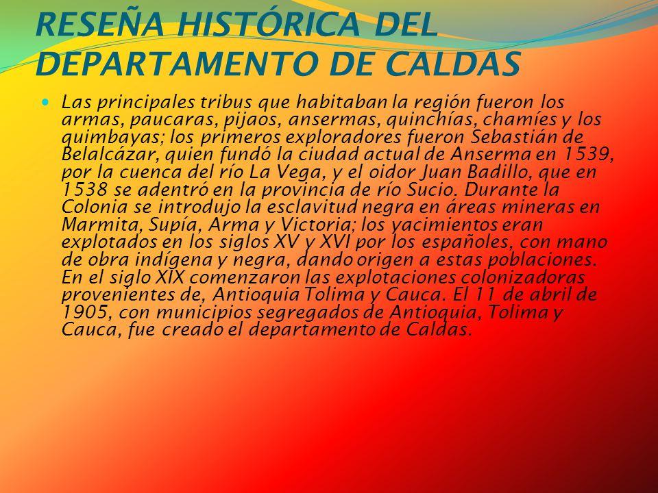 RESEÑA HISTÓRICA DEL DEPARTAMENTO DE CALDAS
