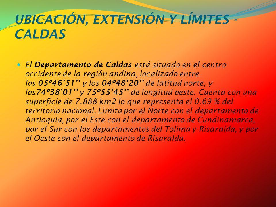 UBICACIÓN, EXTENSIÓN Y LÍMITES - CALDAS