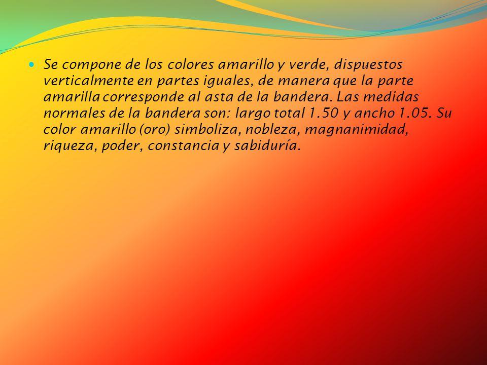 Se compone de los colores amarillo y verde, dispuestos verticalmente en partes iguales, de manera que la parte amarilla corresponde al asta de la bandera.
