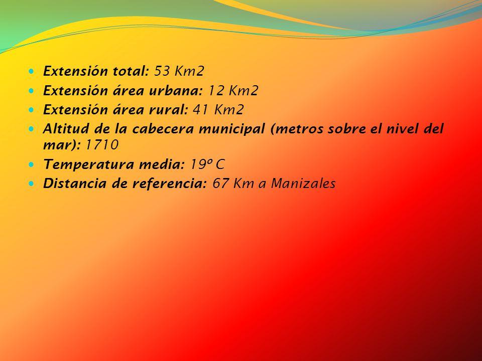 Extensión total: 53 Km2 Extensión área urbana: 12 Km2. Extensión área rural: 41 Km2.