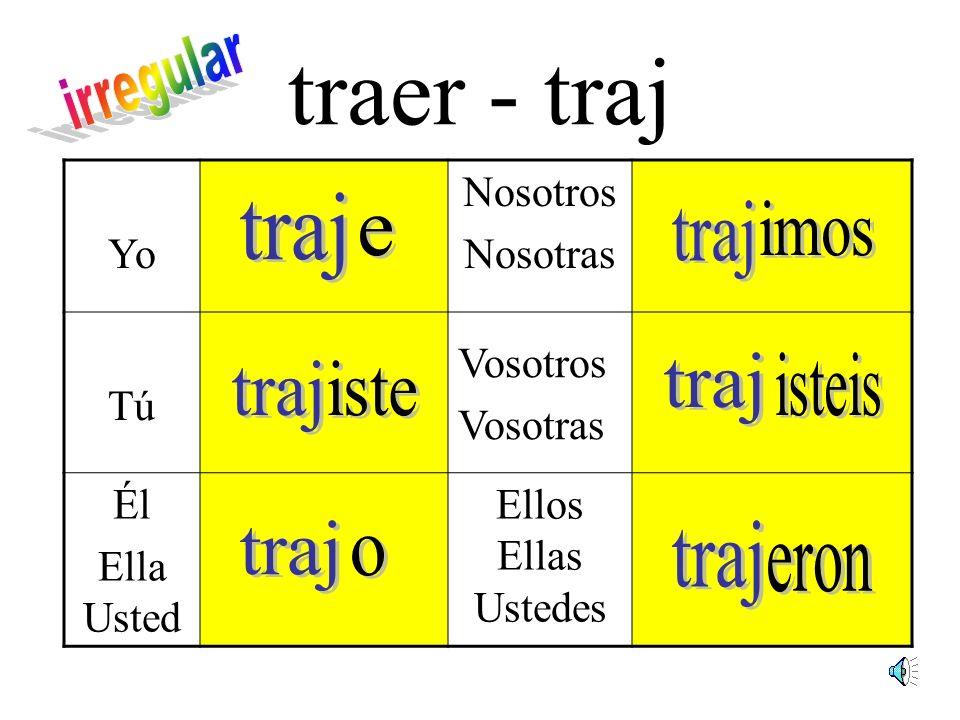 traer - traj irregular traj traj imos e traj isteis traj iste traj