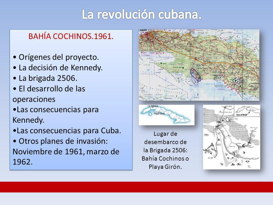 Lugar de desembarco de la Brigada 2506: Bahía Cochinos o Playa Girón.