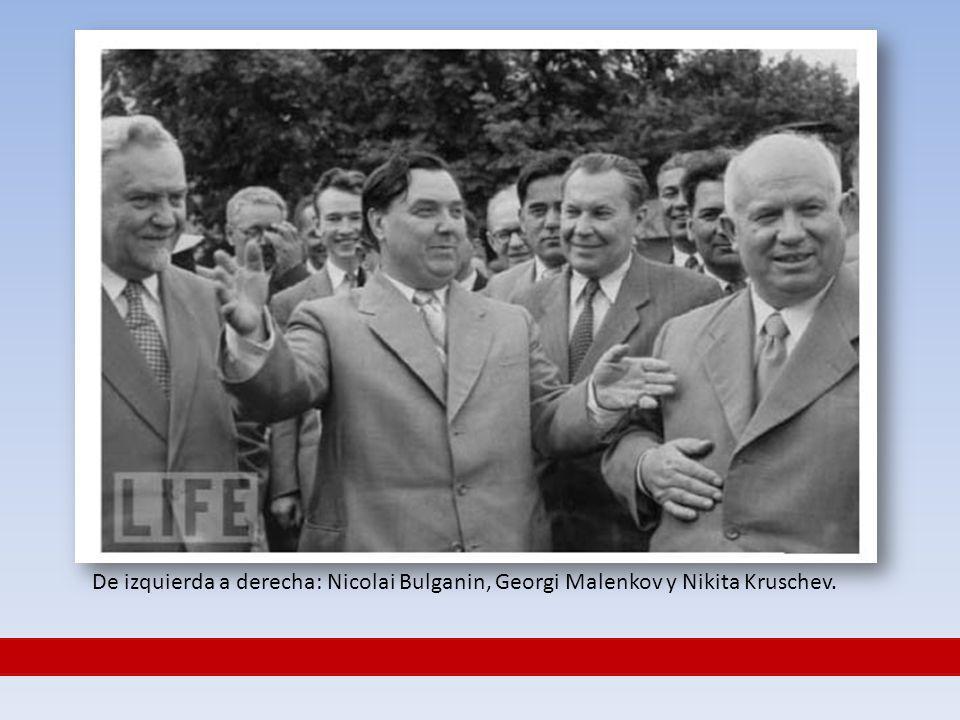 De izquierda a derecha: Nicolai Bulganin, Georgi Malenkov y Nikita Kruschev.