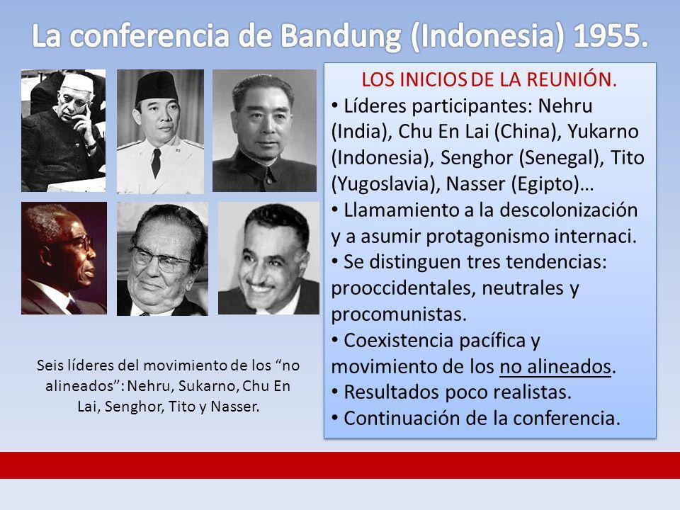 La conferencia de Bandung (Indonesia) 1955.