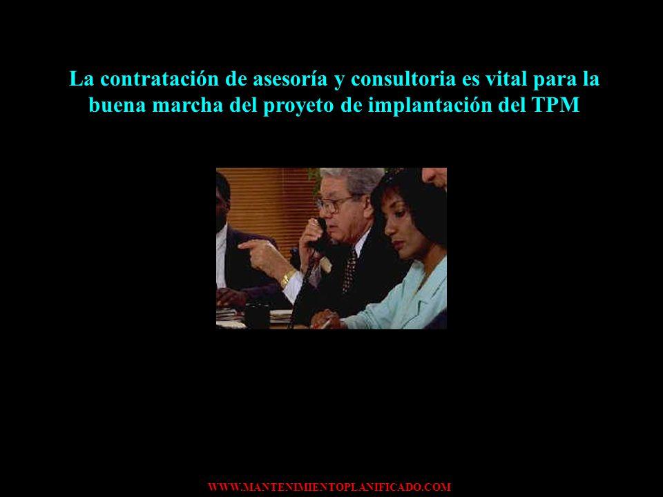 La contratación de asesoría y consultoria es vital para la buena marcha del proyeto de implantación del TPM