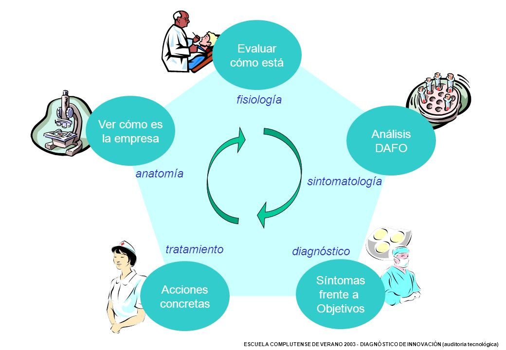 Evaluar cómo está. fisiología. Análisis. DAFO. sintomatología. Ver cómo es. la empresa. anatomía.