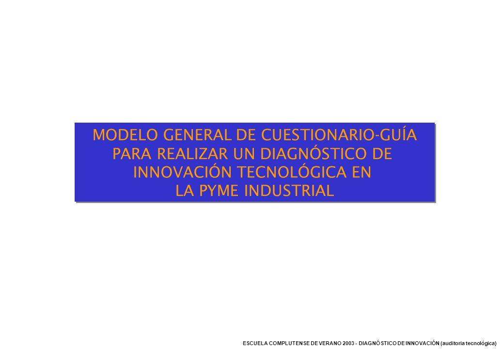 MODELO GENERAL DE CUESTIONARIO-GUÍA PARA REALIZAR UN DIAGNÓSTICO DE