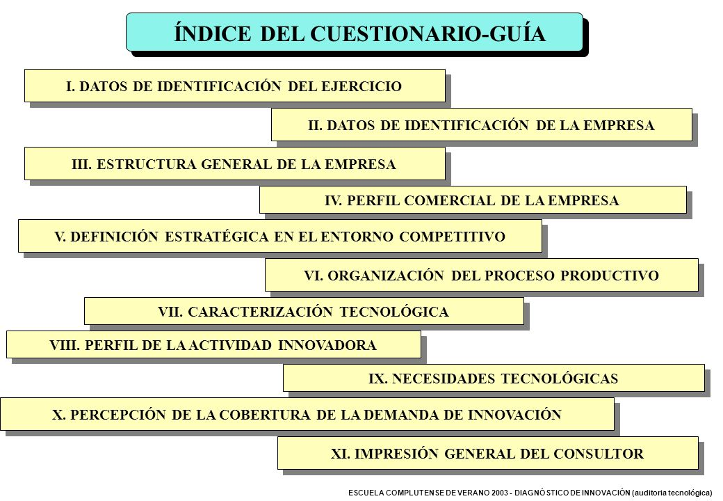 ÍNDICE DEL CUESTIONARIO-GUÍA