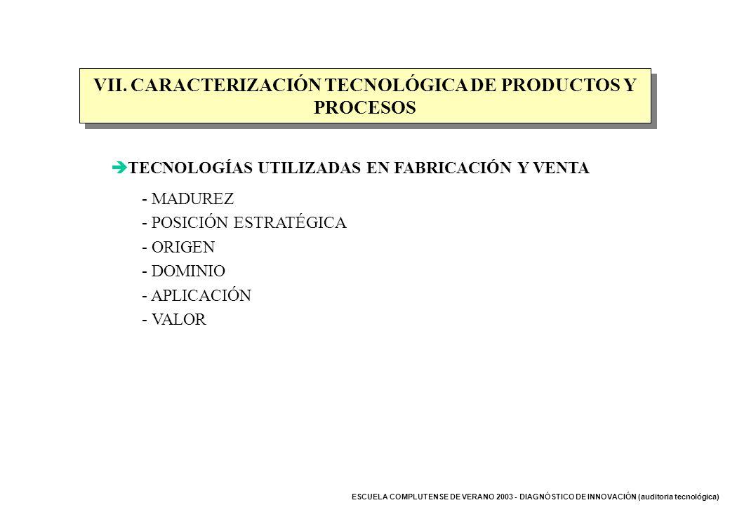VII. CARACTERIZACIÓN TECNOLÓGICA DE PRODUCTOS Y PROCESOS