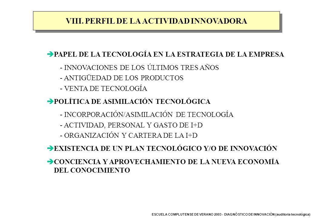 VIII. PERFIL DE LA ACTIVIDAD INNOVADORA