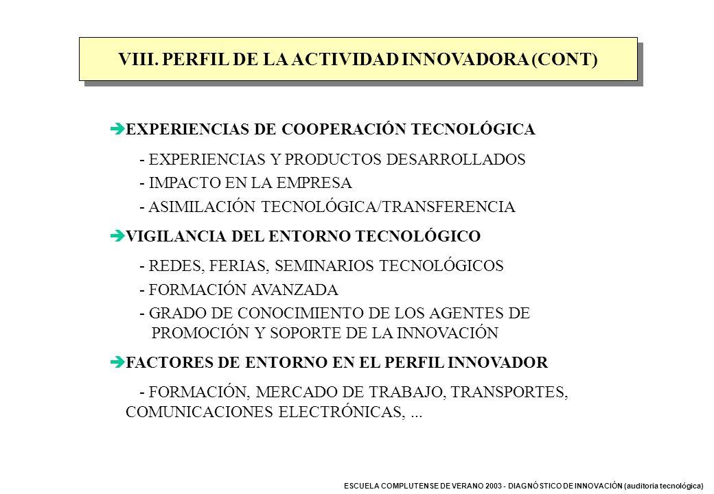 VIII. PERFIL DE LA ACTIVIDAD INNOVADORA (CONT)