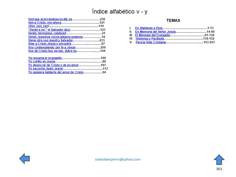 Índice alfabético v - y TEMAS sotelobenjamin@yahoo.com