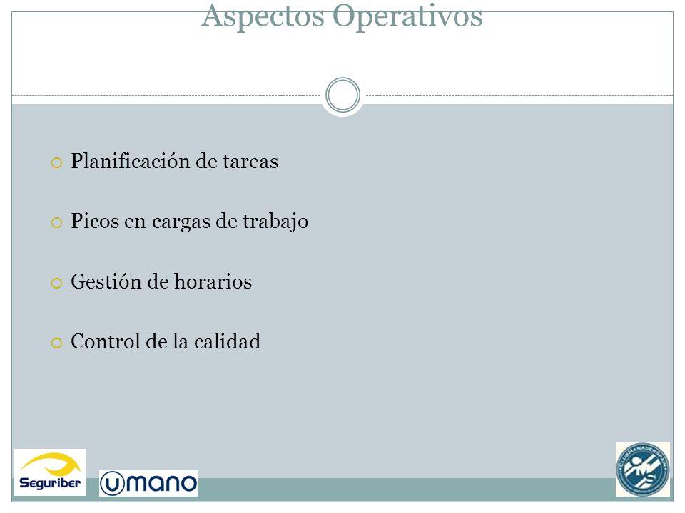 Aspectos Operativos Planificación de tareas Picos en cargas de trabajo