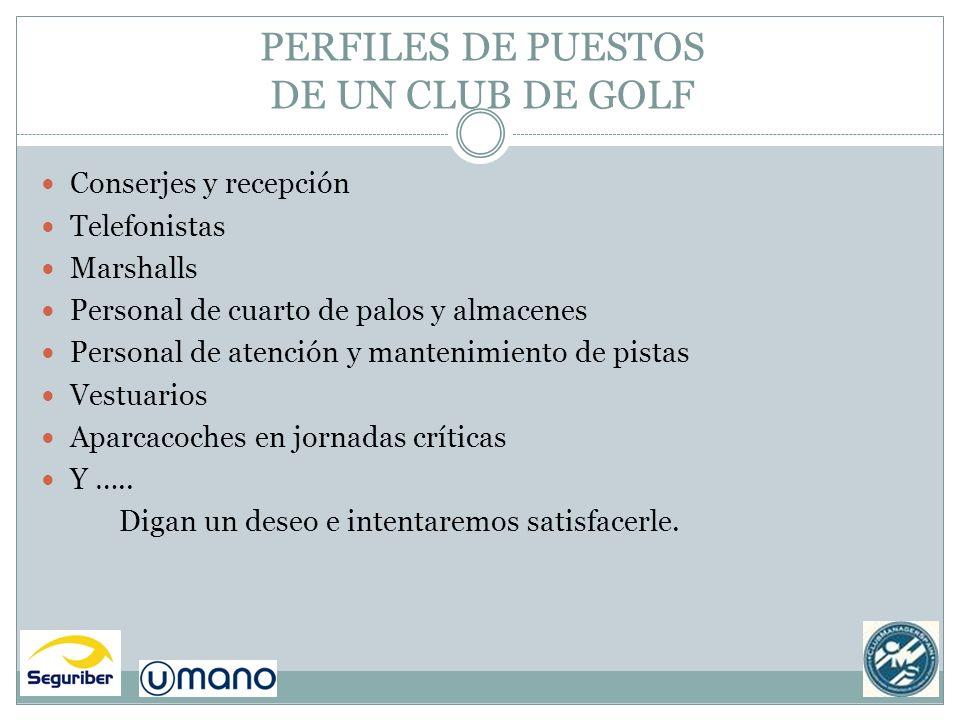 PERFILES DE PUESTOS DE UN CLUB DE GOLF