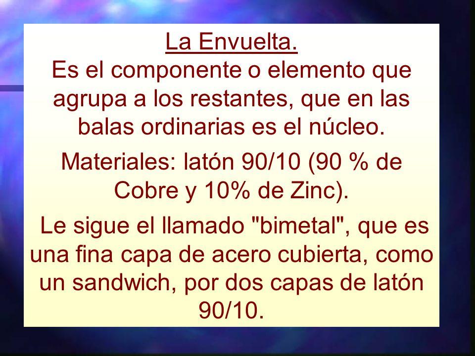 Materiales: latón 90/10 (90 % de Cobre y 10% de Zinc).