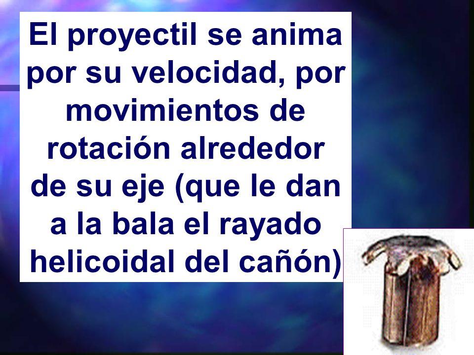 El proyectil se anima por su velocidad, por movimientos de rotación alrededor de su eje (que le dan a la bala el rayado helicoidal del cañón)