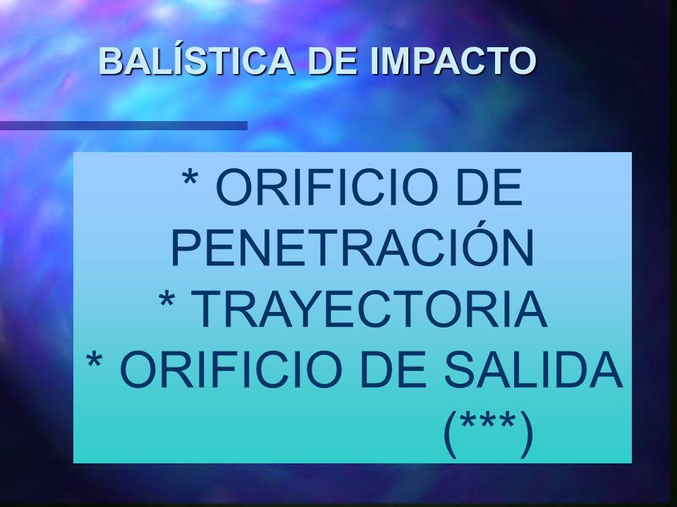 * ORIFICIO DE PENETRACIÓN * TRAYECTORIA * ORIFICIO DE SALIDA (***)