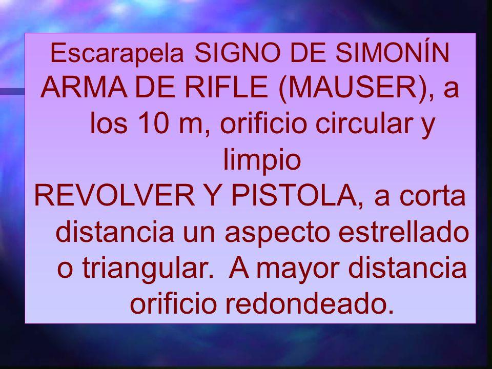 ARMA DE RIFLE (MAUSER), a los 10 m, orificio circular y limpio