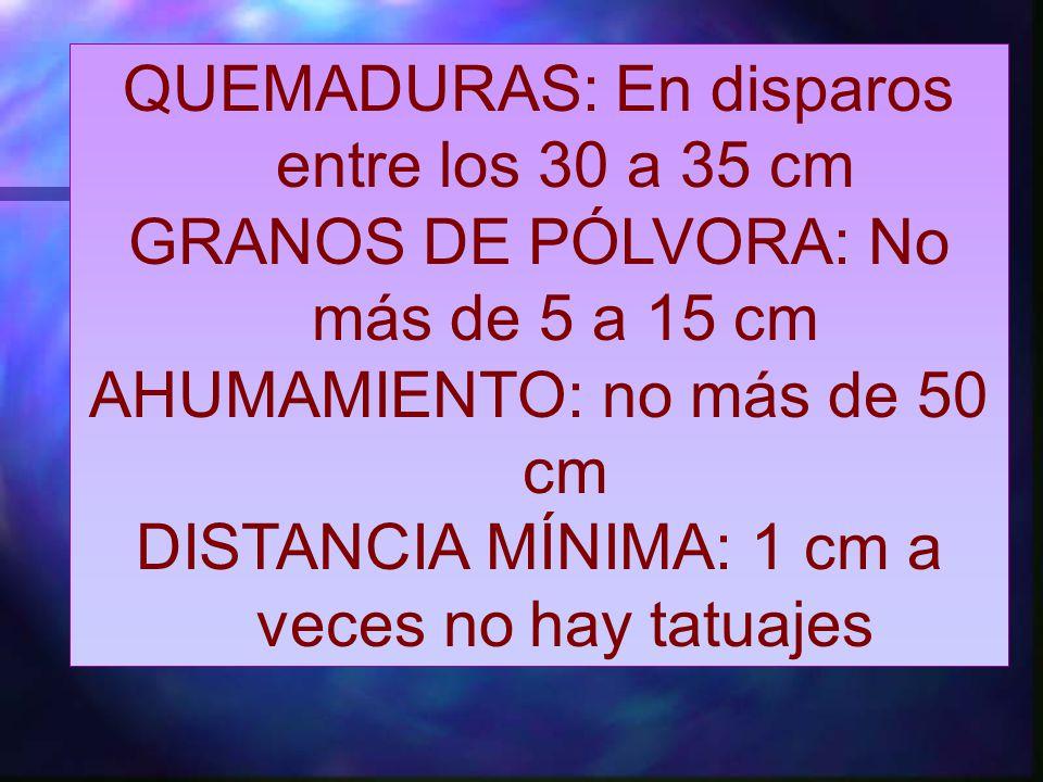 QUEMADURAS: En disparos entre los 30 a 35 cm