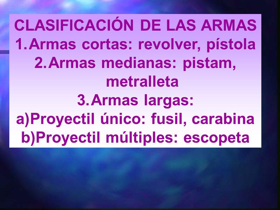 CLASIFICACIÓN DE LAS ARMAS Armas cortas: revolver, pístola