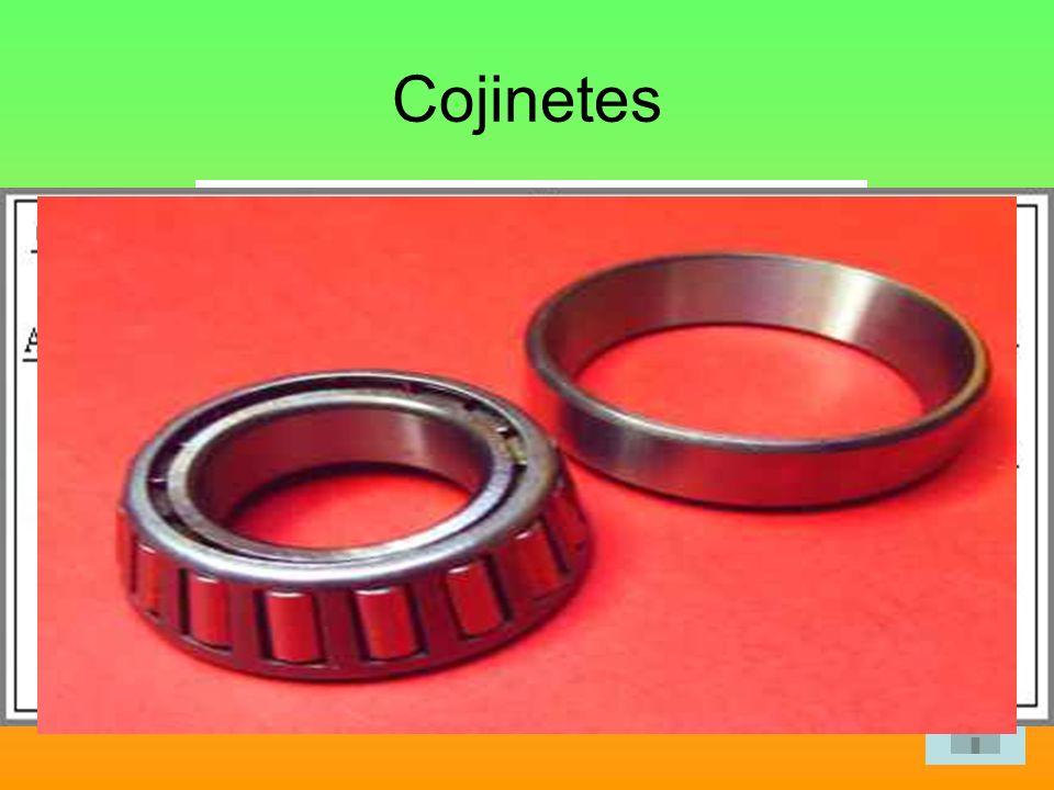 Cojinetes Son piezas cilíndricas que se colocan entre el apoyo de la máquina y el eje o árbol de transmisión de movimientos.
