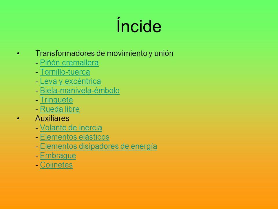Íncide Transformadores de movimiento y unión - Piñón cremallera