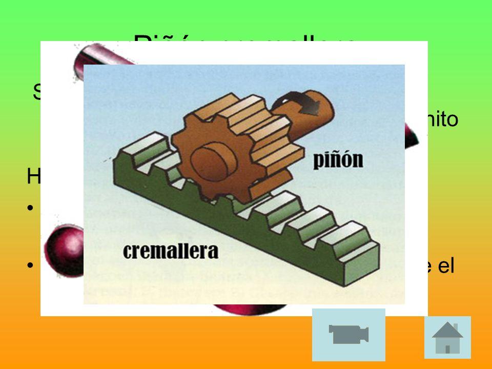 Piñón cremalleraSe trata de un engranaje normal (piñón) que engrana con otro cuyo radio es infinito (cremallera).