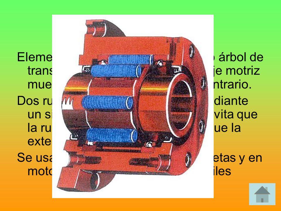 Rueda libre Elemento que se coloca en un eje o árbol de transmisión para permitir que el eje motriz mueva el eje resistente y no el contrario.