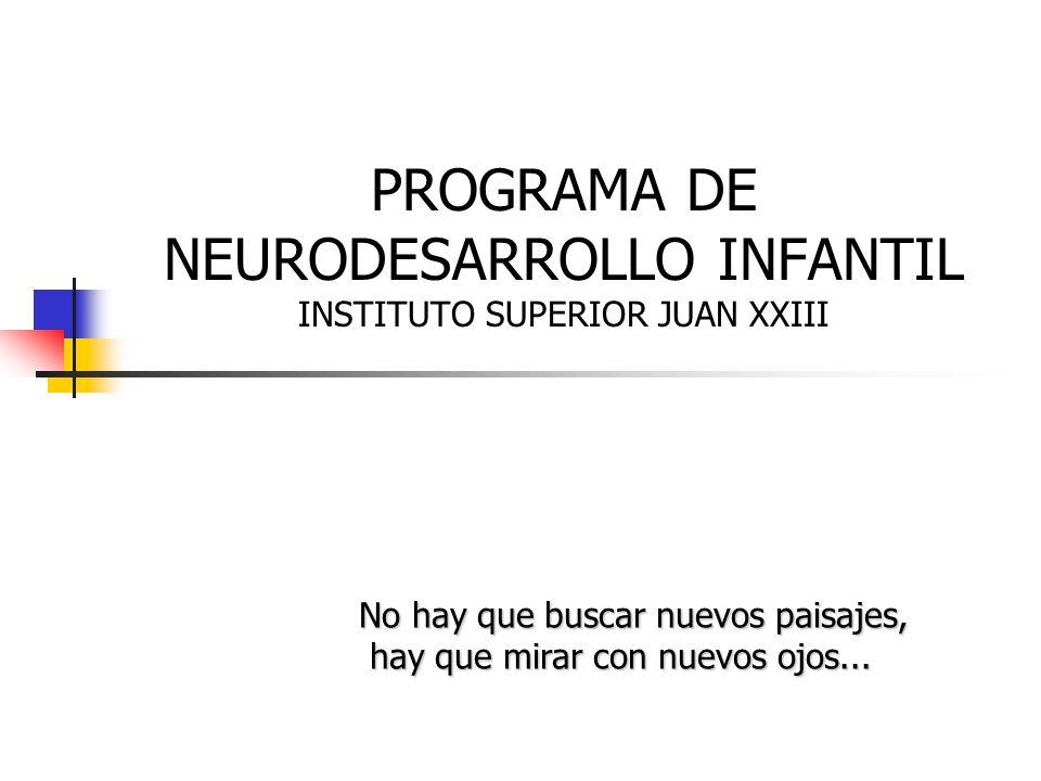 PROGRAMA DE NEURODESARROLLO INFANTIL INSTITUTO SUPERIOR JUAN XXIII