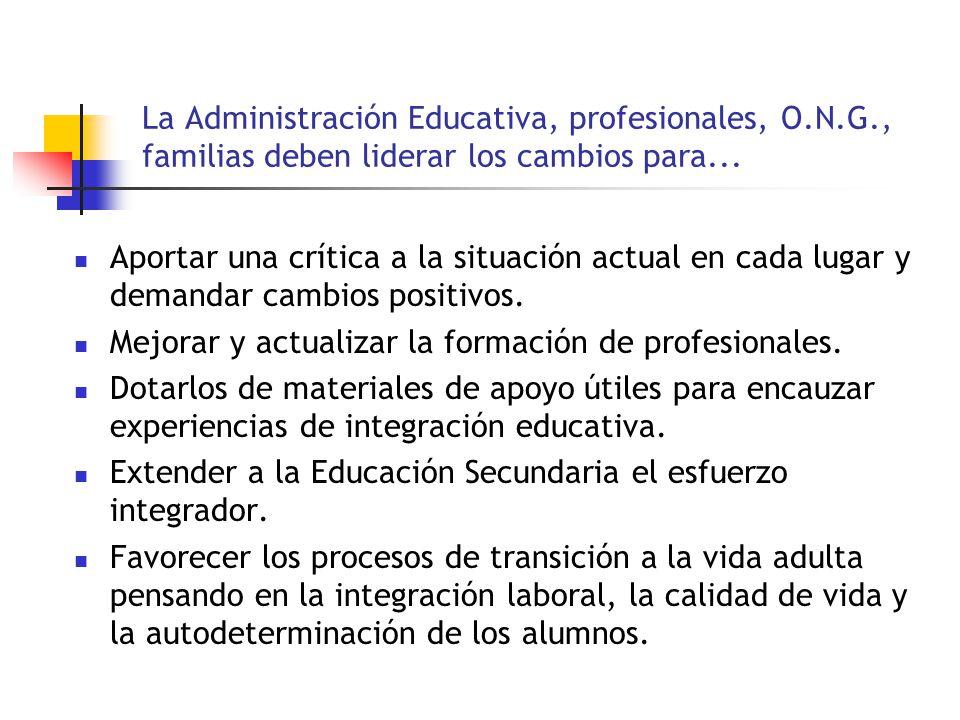 La Administración Educativa, profesionales, O. N. G
