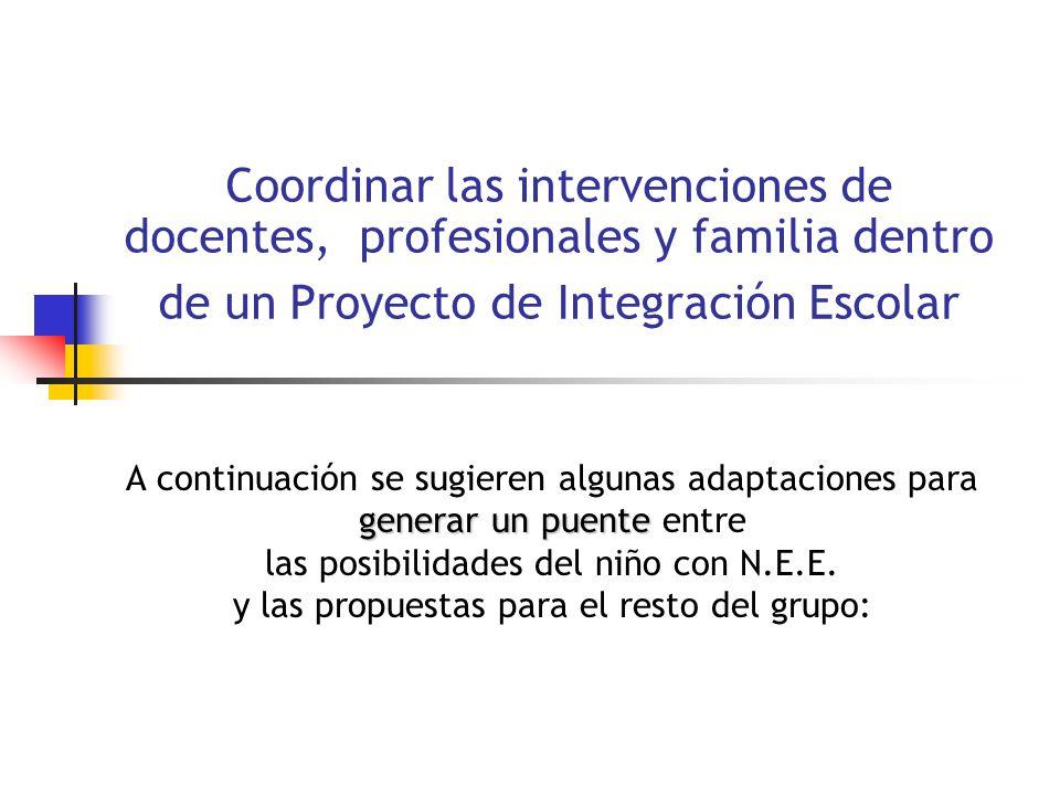 Coordinar las intervenciones de docentes, profesionales y familia dentro de un Proyecto de Integración Escolar