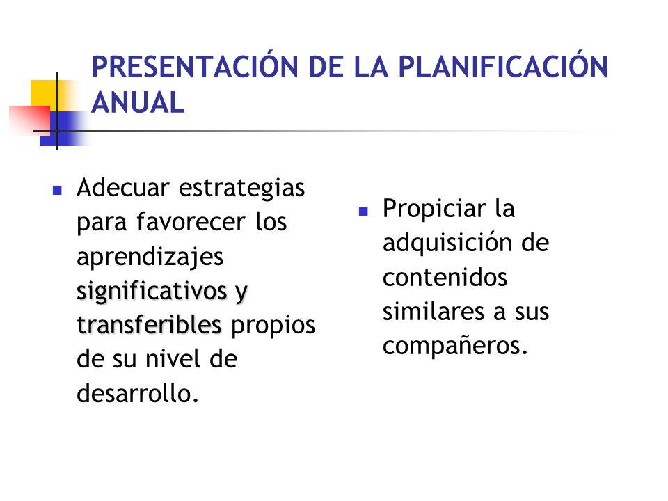 PRESENTACIÓN DE LA PLANIFICACIÓN ANUAL