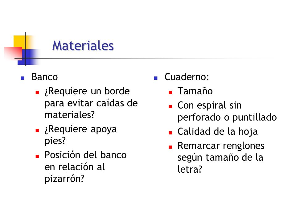 Materiales Banco ¿Requiere un borde para evitar caídas de materiales