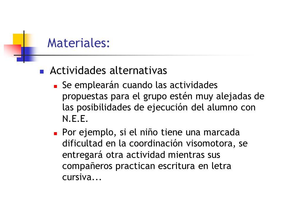 Materiales: Actividades alternativas