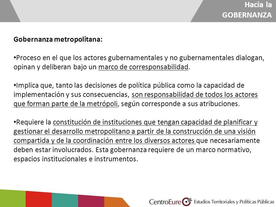Hacia la GOBERNANZA Gobernanza metropolitana: