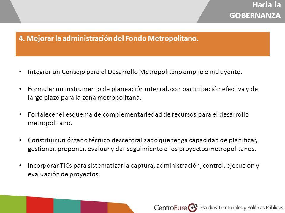 Hacia la GOBERNANZA 4. Mejorar la administración del Fondo Metropolitano. Integrar un Consejo para el Desarrollo Metropolitano amplio e incluyente.
