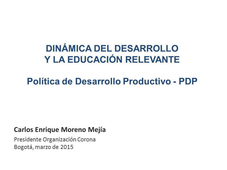 DINÁMICA DEL DESARROLLO Y LA EDUCACIÓN RELEVANTE Política de Desarrollo Productivo - PDP