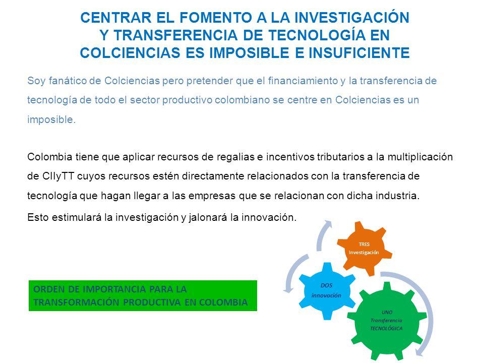 CENTRAR EL FOMENTO A LA INVESTIGACIÓN Y TRANSFERENCIA DE TECNOLOGÍA EN COLCIENCIAS ES IMPOSIBLE E INSUFICIENTE