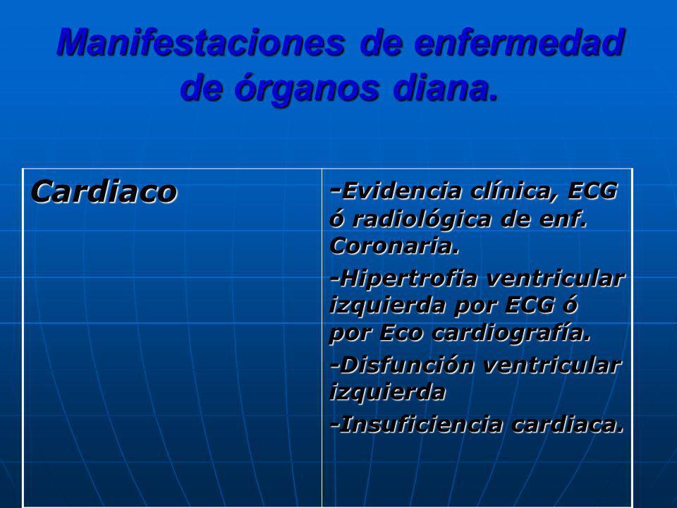 Manifestaciones de enfermedad de órganos diana.
