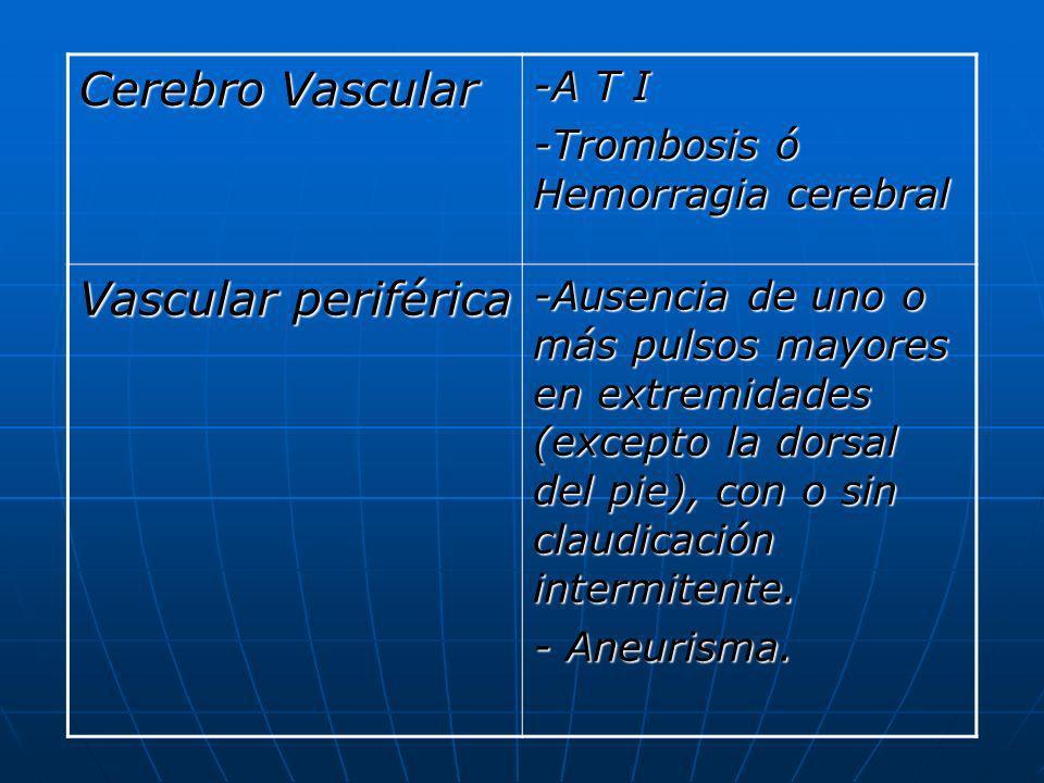 Cerebro Vascular Vascular periférica -A T I
