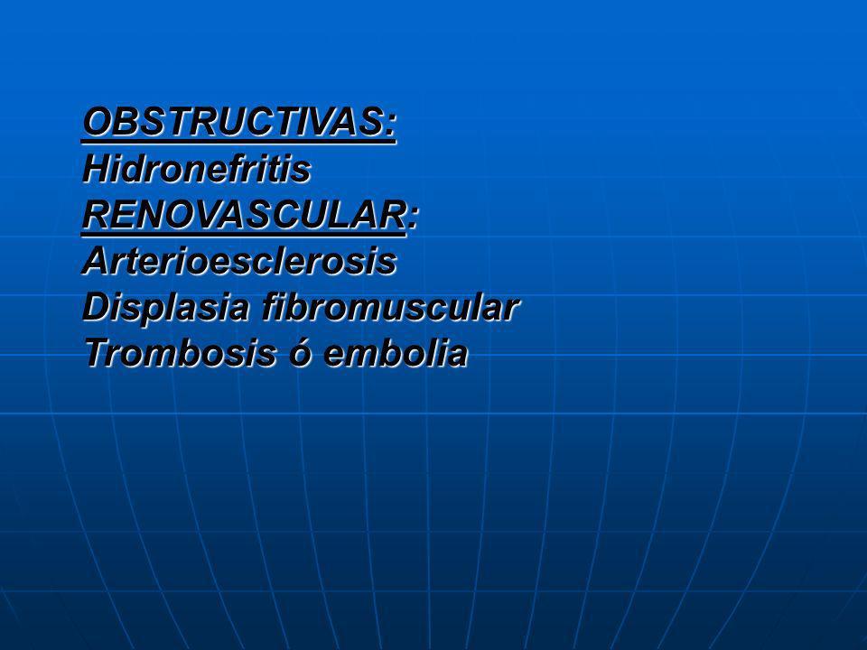 OBSTRUCTIVAS:Hidronefritis.RENOVASCULAR: Arterioesclerosis.